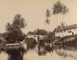 View with stone bridge, Alleppey
